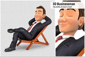 3D Businessman in a Deck Chair