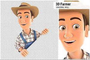 3D Farmer Behind Diagonal Wall