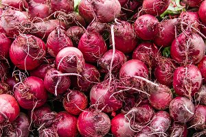 Red beets at market