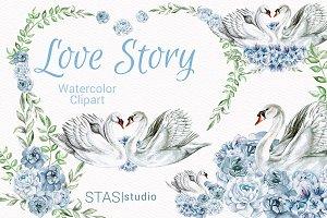 Watercolor Swan Clip Art