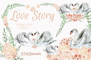 White Swan Romantic Clipart