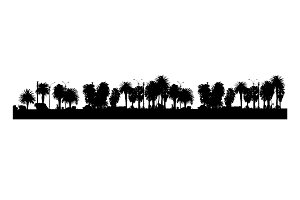 Tropical Panoramic Landscape Graphic Silhouette