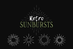 Hand drawn retro sunbursts