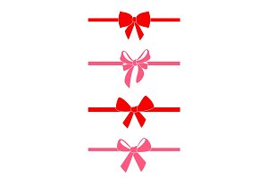 Set of decorative red bows.