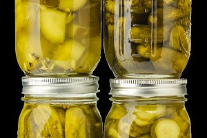Four jars of pickles