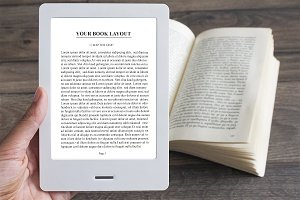 Man using E-Book Reader, MockUp
