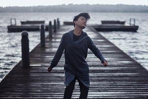 Man Dancing on Dock in Seattle