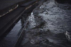 Water Splashing onto Steps