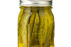Pickle spears in jar
