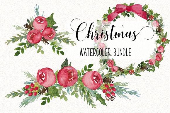 christmas watercolor christmas watercolor floral bundle illustrations creative market