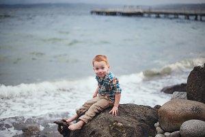 Cute Little Redhead Boy Being Silly