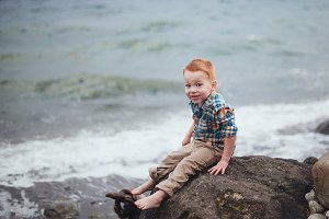 Cute Redheaded Toddler at the Ocean