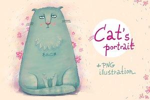 Cat's portrait +PNG illustration
