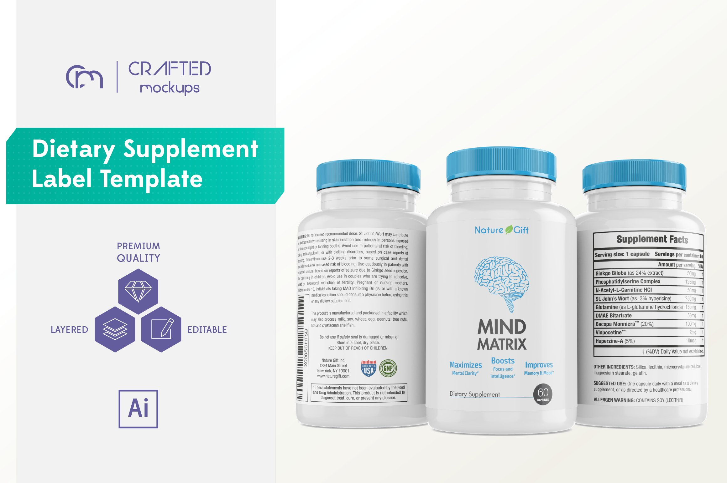 Dietary Supplement Label Template Templates Creative Market