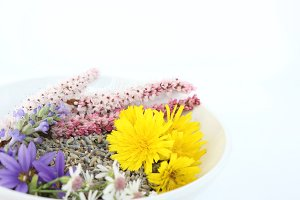 Wild flowers in white bowl