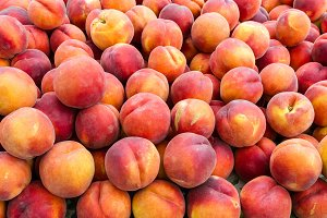 Sweet peaches at the market