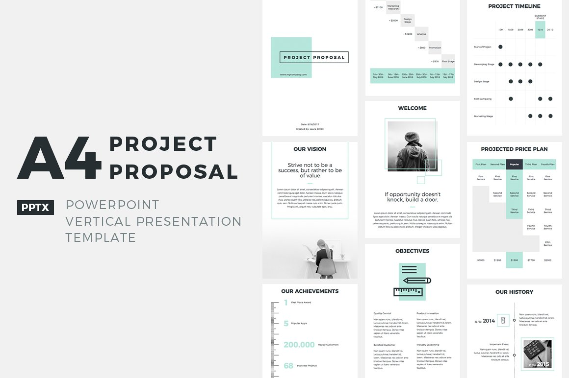 a4 project proposal powerpoint presentation templates creative market