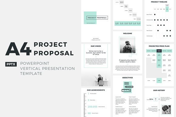 A4 Project Proposal Powerpoint Presentation Templates Creative