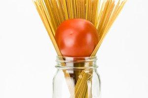 Mason jar with pasta