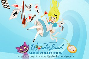 Wonderland Big Alice Clipart Set
