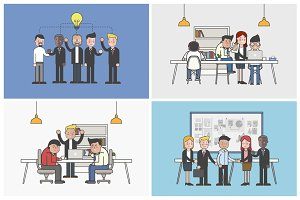 Group of business working vector
