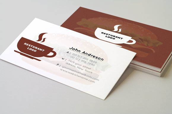 Restaurant Business Card Templates Creative Market
