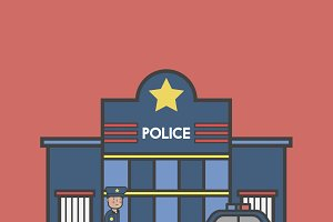 Illustration set of police vector