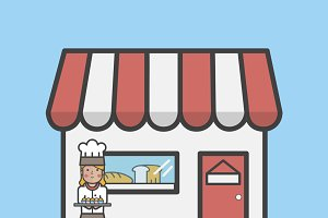 Illustration of bakery shop vector