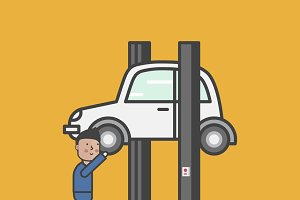 Illustration of car garage vector