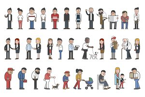 illustration of people vector set