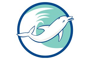 Dolphin Jumping Waves Circle Retro