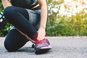 Women accident during running