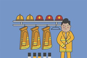 Illustration of firefighter