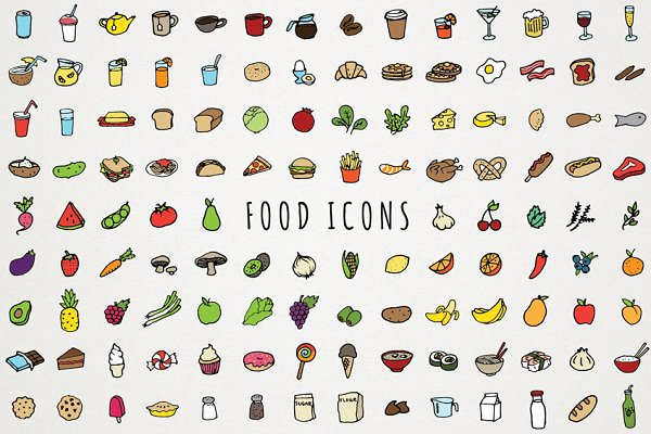 Hand Drawn Food & Drink Icons