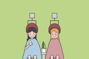 Illustration set of barber shop