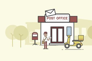 Illustration of post office