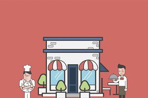 Illustration of restaurant vector