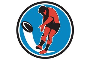 Rugby Player Kicking Ball Circle Ret