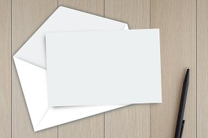 Card with envelope on the table