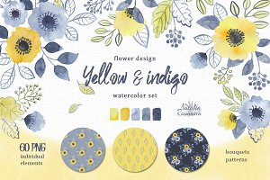 Watercolor set of yellow and indigo