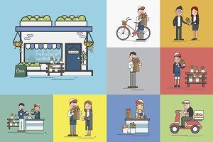 Illustration of flower shop vector
