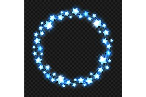 Christmas blue star light garland