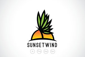 Windy Sunset Logo Template