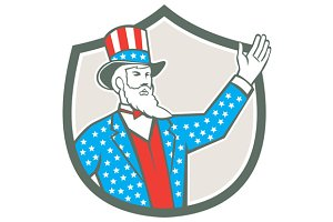 Uncle Sam American Hand Up Shield Re