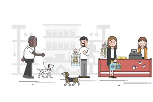 Illustration set of pet shop