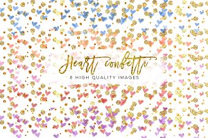 Rainbow heart Confetti Clipart