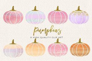 WATERCOLOR pumpkin clip art