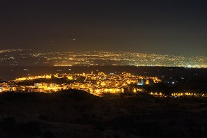 Night Lentini town view, Sicily