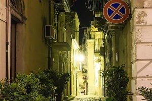 Night Ragusa town street, Sicily