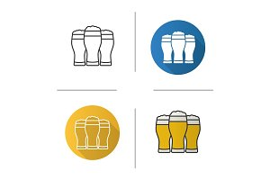 Three light beer glasses icon